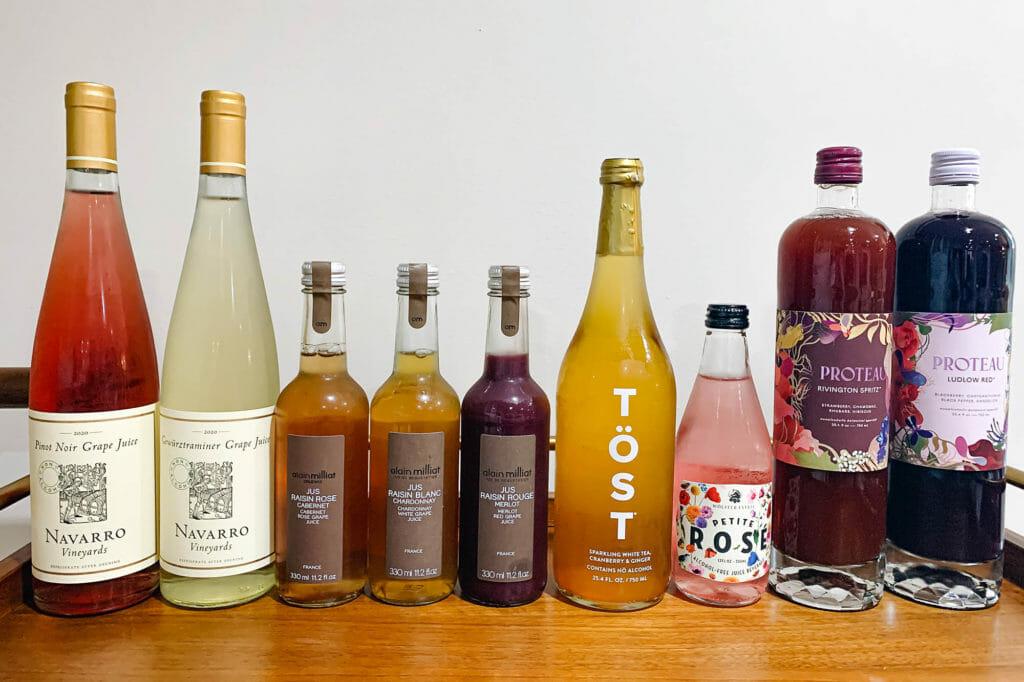 Безалкогольные бутылки вина